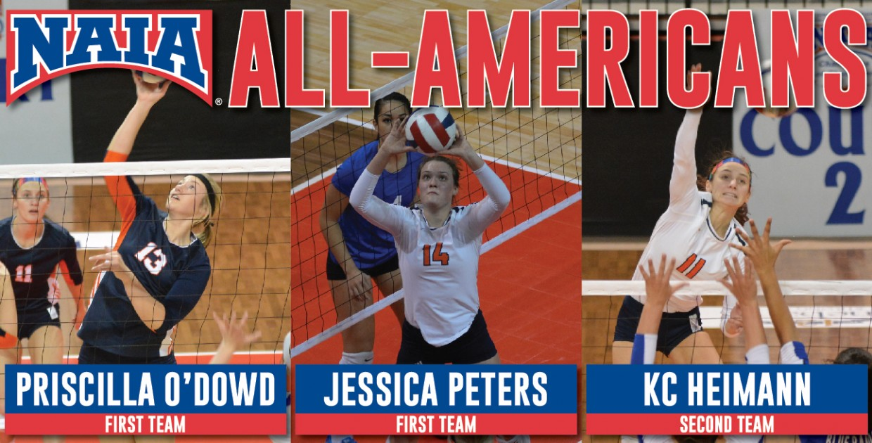 Photo for Heimann, O'Dowd and Peters earn 2016 NAIA Volleyball All-America honors