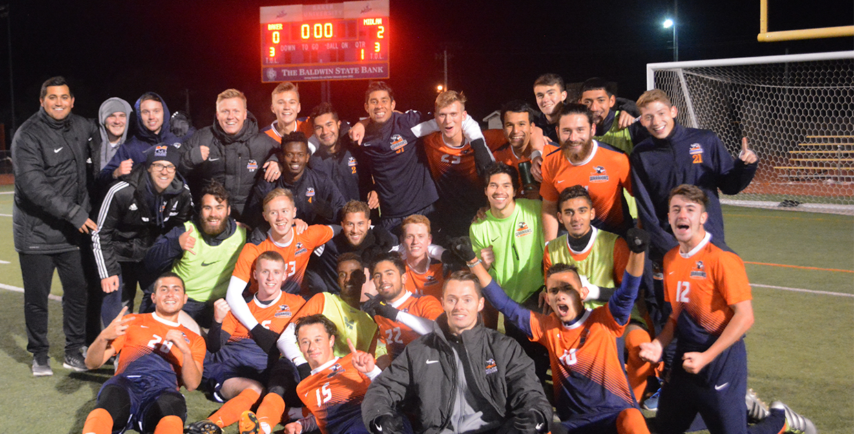 Photo for Sodal nets game-winner in Midland's historic NAIA Men's Soccer Opening Round win