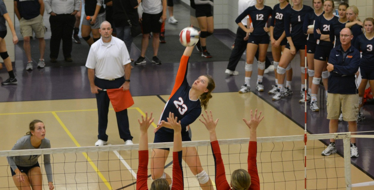 Photo for No. 3 Midland volleyball completes epic five-set comeback at No. 16 Doane