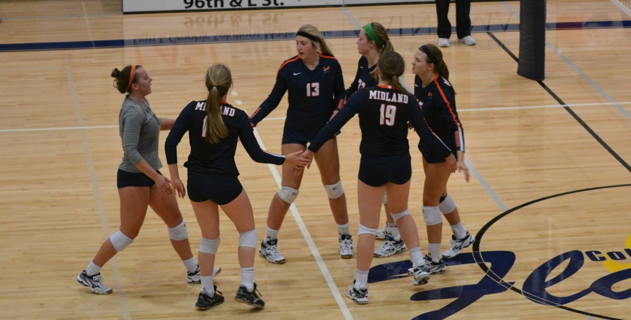 Photo for No. 9 Lady Warriors Overcome Early Struggles, Defeat Flames in Four Sets.